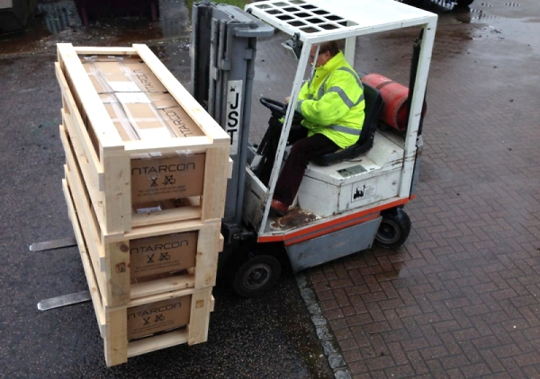 compact and industrial refrigeration units on forklift