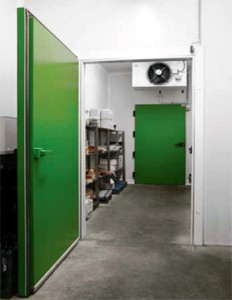 cold room door example in green