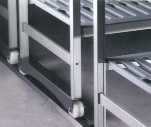 mobile cold room shelving with casters in special channel