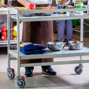 lockable mobile trolley with shelving